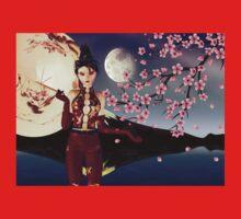 Asian Girl with Sakura at Night 2 Kids Clothes