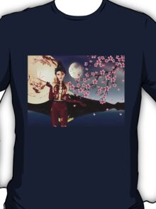 Asian Girl with Sakura at Night 2 T-Shirt