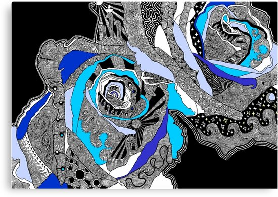 rose doodle blue by andley