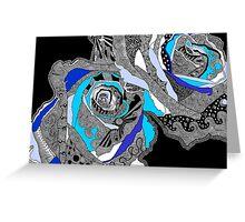 rose doodle blue Greeting Card