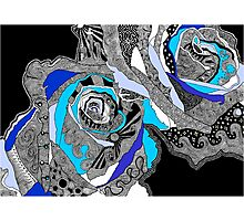 rose doodle blue Photographic Print