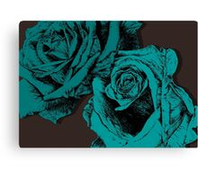 roses turquoise Canvas Print