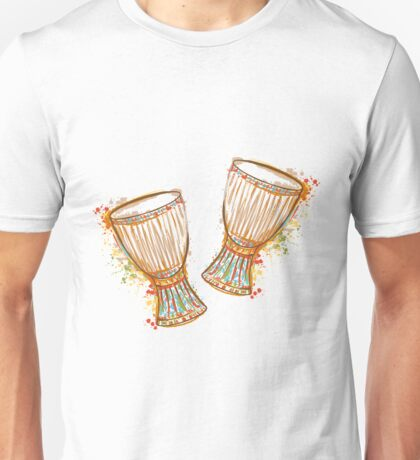 Drums tam tam with splashes in watercolor style.  Unisex T-Shirt