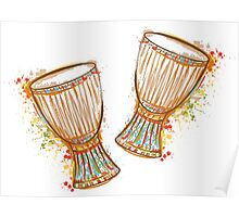 Drums tam tam with splashes in watercolor style.  Poster