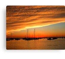 sunset on the bay in watch hill Canvas Print