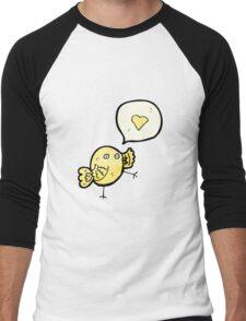cartoon bird with love heart speech bubble Men's Baseball ¾ T-Shirt