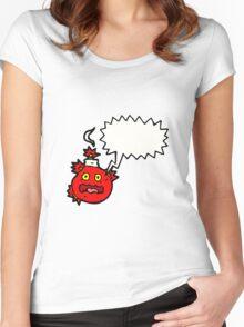 stress bomb cartoon  Women's Fitted Scoop T-Shirt