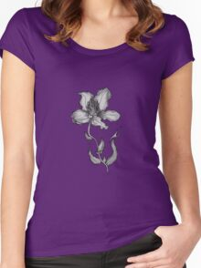 Grey Flower Women's Fitted Scoop T-Shirt