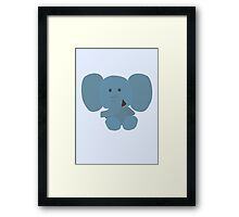 Elephant Vector - Large - blue Framed Print