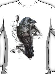 crow gothic bird raven realism drawing sketch tattoo T-Shirt