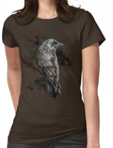 crow gothic bird raven realism drawing sketch tattoo Womens Fitted T-Shirt