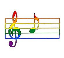 Rainbow Musical Notes Photographic Print