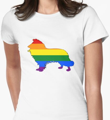 Rainbow Border Collie Womens Fitted T-Shirt