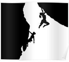 women rock climbing Poster