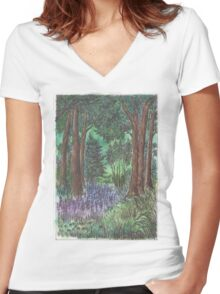 Deep forest Women's Fitted V-Neck T-Shirt