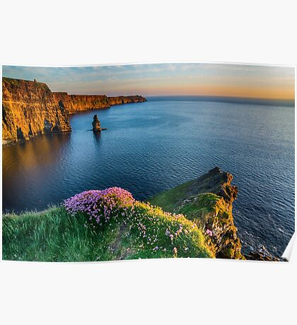 Cliffs of moher sunset county clare ireland Poster