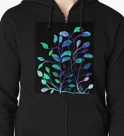 Do Not Go Into The Night, Red and Green Leaves Zipped Hoodie