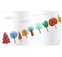 Christmas tree snowy scene Poster