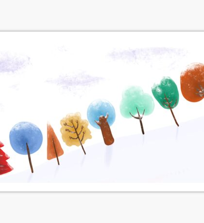 Christmas tree snowy scene Sticker