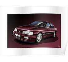 Ford Sierra Cosworth Sapphire 4x4 Poster Illustration Poster
