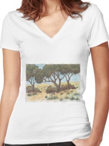 Autumn nature Women's Fitted V-Neck T-Shirt
