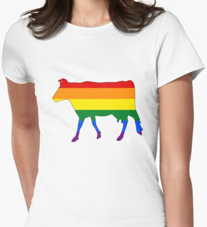 Rainbow Cow Womens Fitted T-Shirt