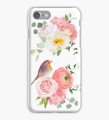 Spring colorful bouquets and cute robin birds vector design objects. Peachy roses, dahlia, carnation, orchid and ranunculus flowers in japanese style. iPhone Case/Skin
