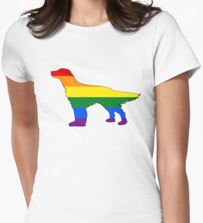 Rainbow English Setter Womens Fitted T-Shirt