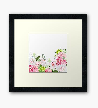 Pink and green hydrangea, rose, white peony, orchid, carnation vector design card. Botanical style frame with mixed flowers on white. Elegant floral background. Framed Print
