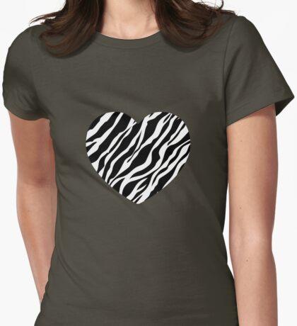 Zebra Heart Womens Fitted T-Shirt