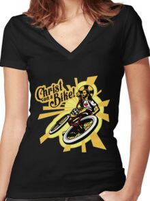 Christ on a Bike Women's Fitted V-Neck T-Shirt