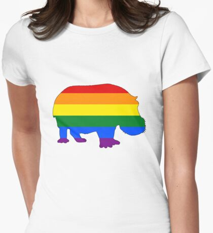 Rainbow Hippopotamus Womens Fitted T-Shirt