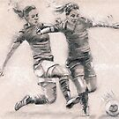 Ladies Football - charcoal sketch drawing by Paulette Farrell