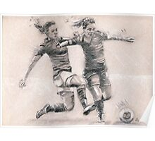 Ladies Football - charcoal sketch drawing Poster