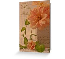 Happy Birthday Sis Card - Dahlias Greeting Card