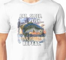 Eat, Sleep, Fish, Repeat Bass Fishing T-Shirt Funny Gifts Unisex T-Shirt