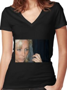 Blond Woman Women's Fitted V-Neck T-Shirt