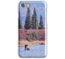 Scenic Alaska moose in water iPhone Case/Skin