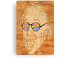 wooden Albert Einstein Canvas Print