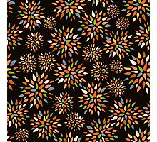 Abstract colorful flowers on black background. Photographic Print