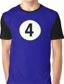 4, Fourth, Number Four, Number 4, Old School, Racing, Four, Competition, on Navy Blue Graphic T-Shirt