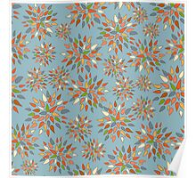 Abstract colorful flowers on blue background. Poster