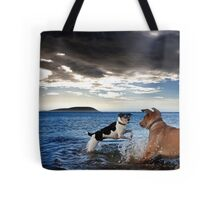 Dogs with game face on .28 Tote Bag