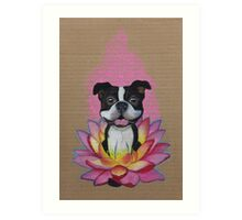 Zen Boston Terrier - Lotus Flower Art Print