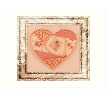 Heart Wall Hanging In Crazy Quilt Design  Art Print
