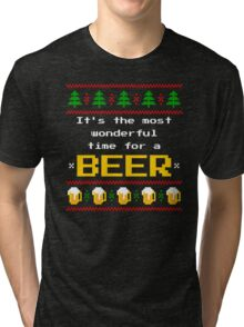 Ugly Christmas Sweater - Beer Tri-blend T-Shirt