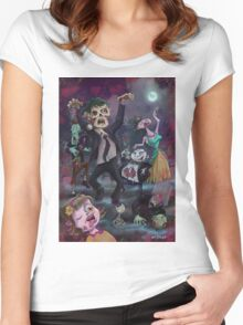 Cartoon Zombie Party Women's Fitted Scoop T-Shirt