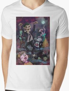 Cartoon Zombie Party Mens V-Neck T-Shirt