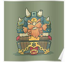 Cartoon styled dwarf sitting on the chest  Poster