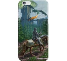 Knight on horseback approaching dragon guarded castle iPhone Case/Skin